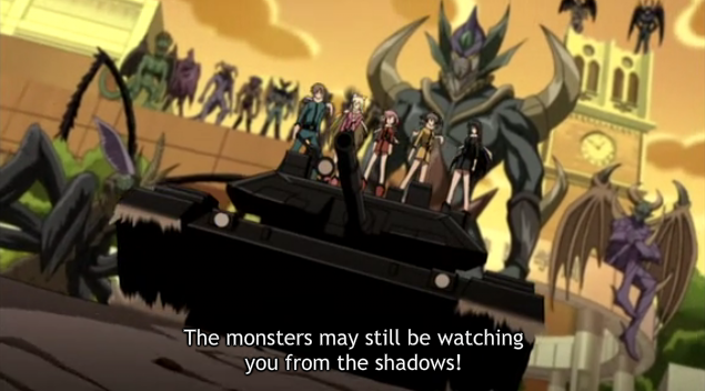 SCD Tank sentai monster demons rolling away from shadows