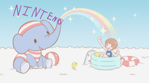 N0KLK Cute fun happy times with an elephant and bath swim time joy adorable