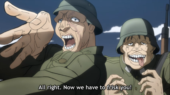 1 Jojo now we have to frisk you fine ladies with our cokcs okay sure that is weird and fine military